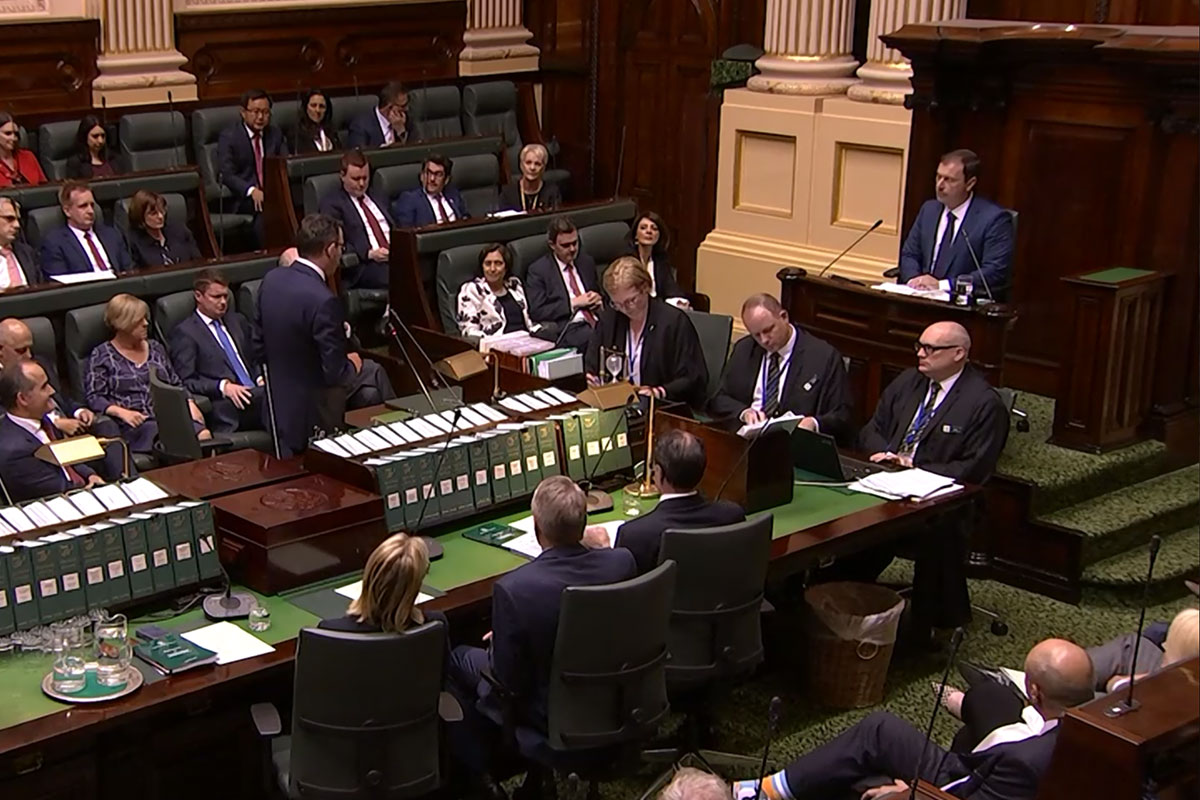 Speaker Colin Brooks is welcomed by Premier Daniel Andrews