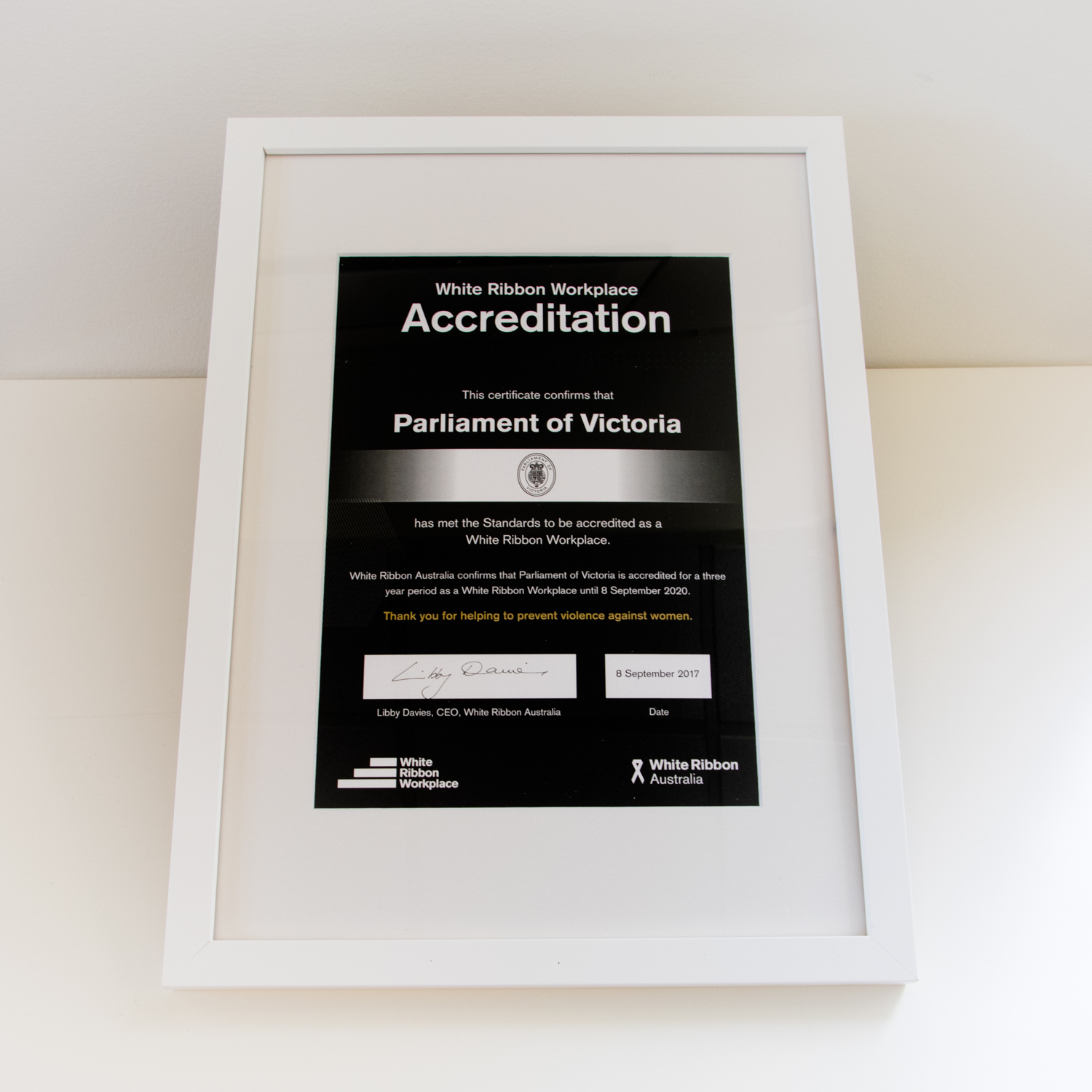 White Ribbon Certificate