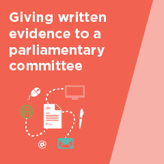 Giving written evidence to a parliamentary committee brochure