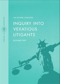 cover of the final report for the Inquiry into Vexatious Litigants