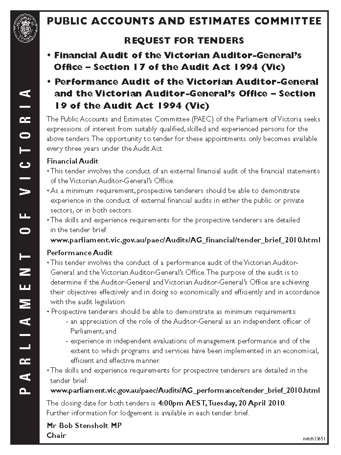 Advertisement copy for auditors