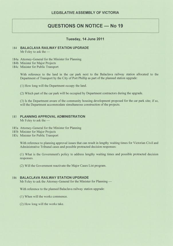 Legislative Assembly Question Paper