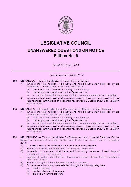 Legislative Council Question Paper